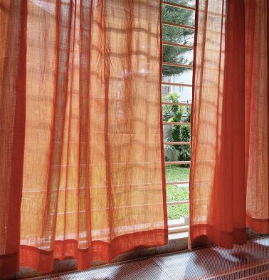 Customizable Sheer Curtain, Slub Cotton - Orange Peel