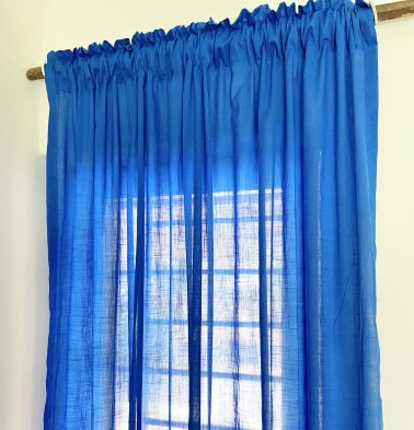 Slub Sheer Cotton Curtain Princess Blue