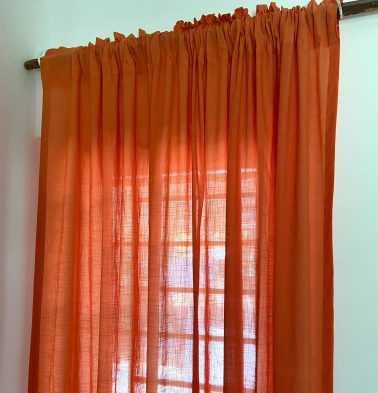 Slub Sheer Cotton Curtain Orange Peel