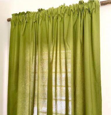 Solid Cotton Curtain Spinach Green