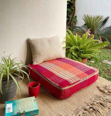 Broad Checks Cotton Floor Cushion Red