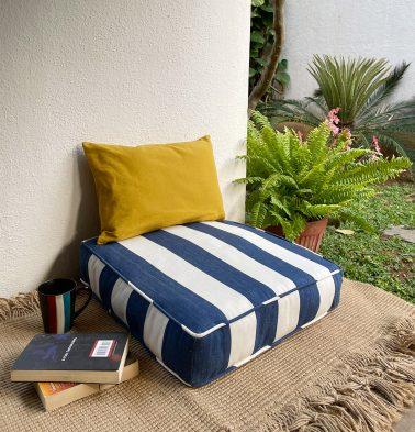 Cabana Stripes Cotton Floor Cushion Blue/White