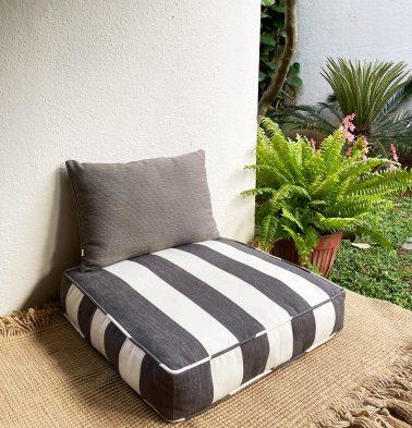 Cabana Stripes Cotton Floor Cushion Grey/White