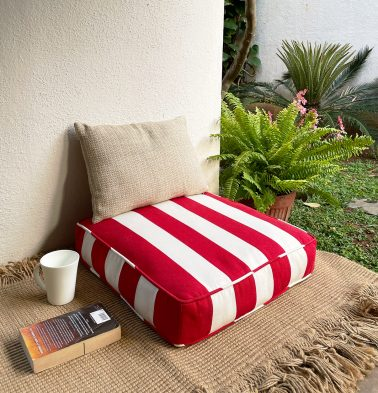 Cabana Stripes Cotton Floor Cushion Red/White
