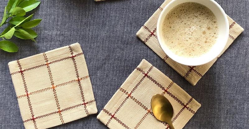 Handwoven Checks Cotton Coasters Beige – Set of 6