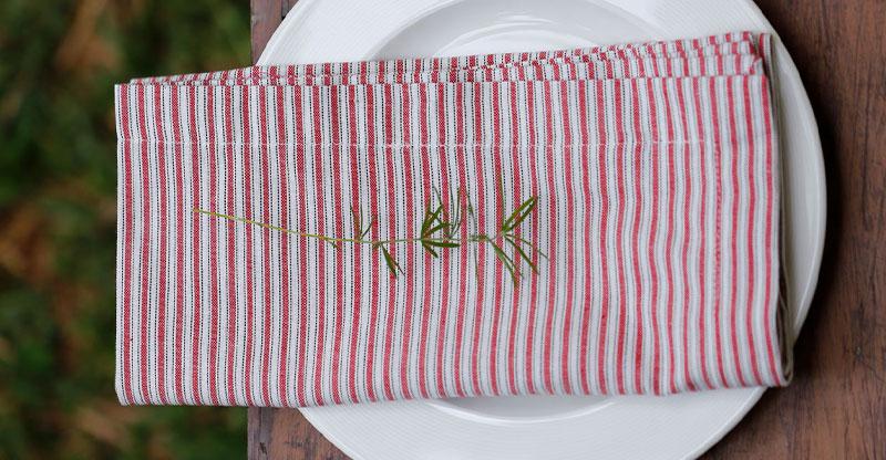 Stripe Cotton Table Napkins Red/White