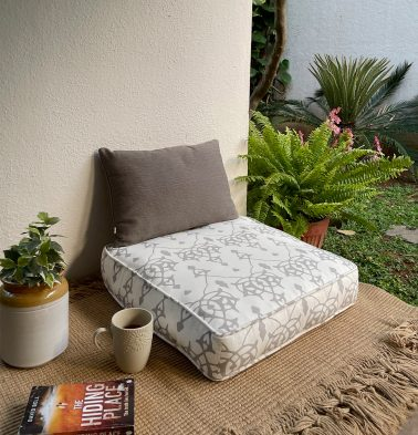 Arabic Chevron Cotton Floor Cushion Dove Grey