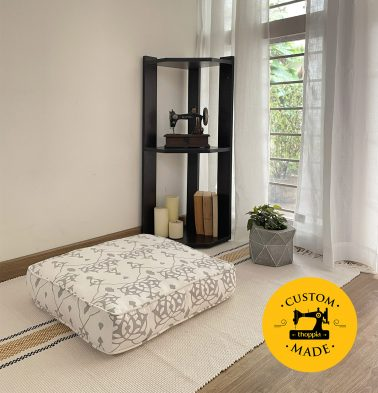 Customizable Floor Cushion, Cotton - Arabic Chevron - Dove Grey