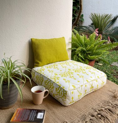 Arabic Chevron Cotton Floor Cushion Lemon Yellow