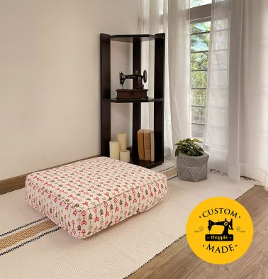 Customizable Floor Cushion, Cotton - Aztec Arrows - Fiesta Red