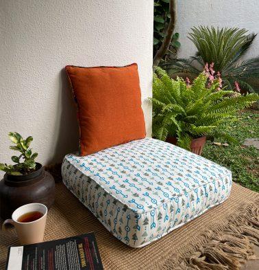 Aztec Arrows Cotton Floor Cushion Vivid Blue