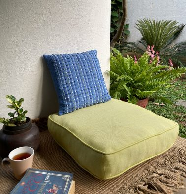 Chambray Cotton Floor Cushion Muted Lime