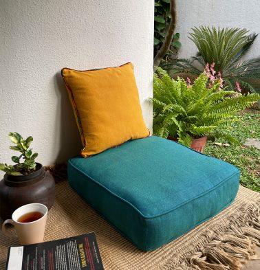 Chambray Cotton Floor Cushion Ocean Depth Green