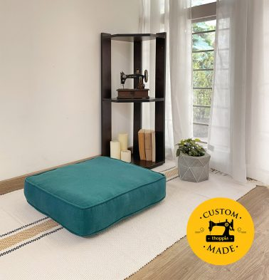 Customizable Floor Cushion, Chambray Cotton - Ocean Depth Green