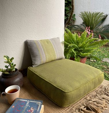 Chambray Cotton Floor Cushion Olive Green