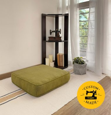 Customizable Floor Cushion, Chambray Cotton - Olive Green