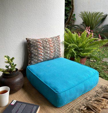 Chambray Cotton Floor Cushion Scuba Blue