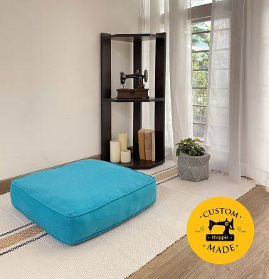 Customizable Floor Cushion, Chambray Cotton - Scuba Blue