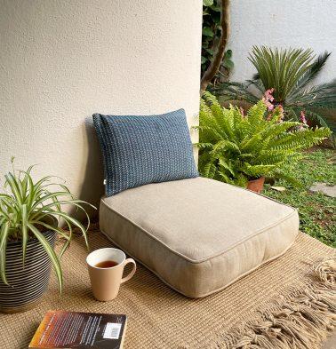 Chambray Cotton Floor Cushion Sesame Beige