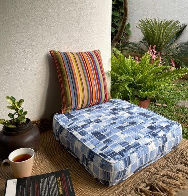 Brush Stroke Cubes Cotton Floor Cushion Blue