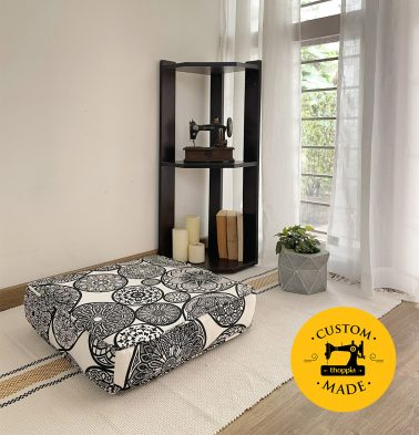 Customizable Floor Cushion, Cotton - Dreamcatcher - Black