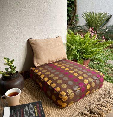 Polka Cotton Floor Cushion Brown