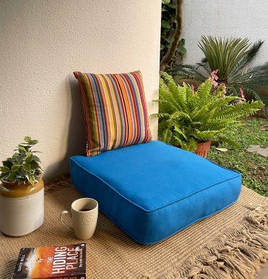 Solid Cotton Floor Cushion Brilliant Blue