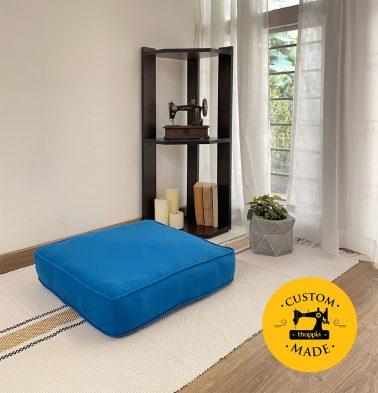 Customizable Floor Cushion, Cotton - Solid - Brilliant Blue