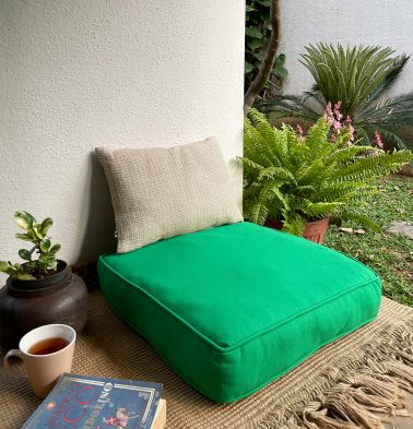 Solid Cotton Floor Cushion Brilliant Green