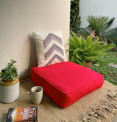 Solid Cotton Floor Cushion Brilliant Red
