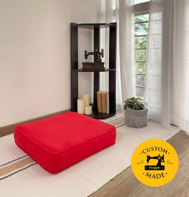 Customizable Floor Cushion, Cotton - Solid - Brilliant Red