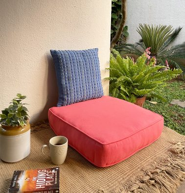 Solid Cotton Floor Cushion Coral
