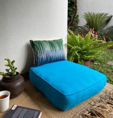 Solid Cotton Floor Cushion Hawaiian Ocean Blue