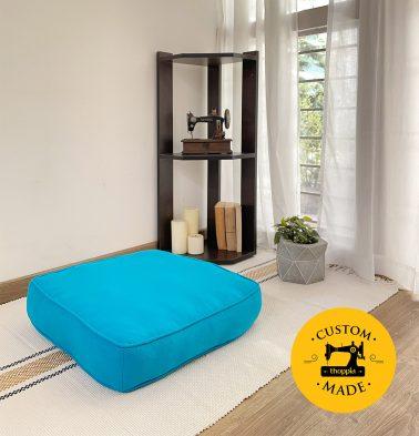 Customizable Floor Cushion, Cotton - Solid - Hawaiian Ocean Blue