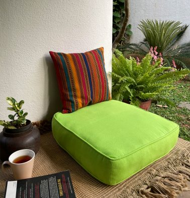 Solid Cotton Floor Cushion Lime Green
