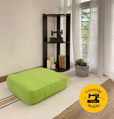 Customizable Floor Cushion, Cotton - Solid - Lime Green
