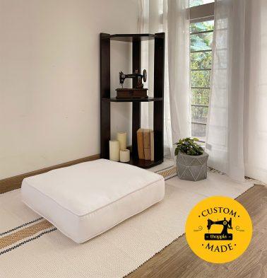 Customizable Floor Cushion, Cotton - Solid - Powder White