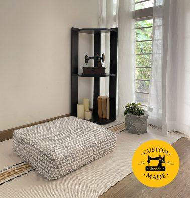 Customizable Floor Cushion, Cotton - Star Triangles - Grey