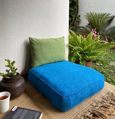 Textura Cotton Floor Cushion Aster Blue