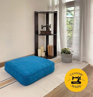 Customizable Floor Cushion, Textura Cotton - Aster Blue