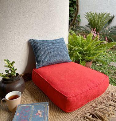 Textura Cotton Floor Cushion Spicy Orange