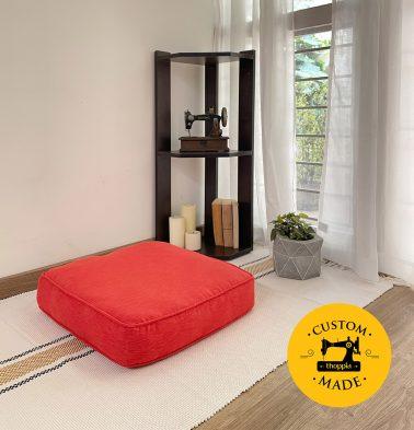Customizable Floor Cushion, Textura Cotton - Spicy Orange