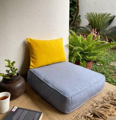 Textura Cotton Floor Cushion Tempest Blue