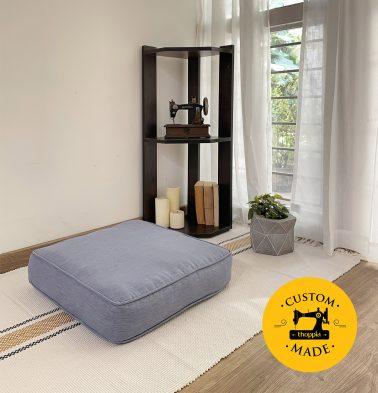 Customizable Floor Cushion, Textura Cotton - Tempest Blue