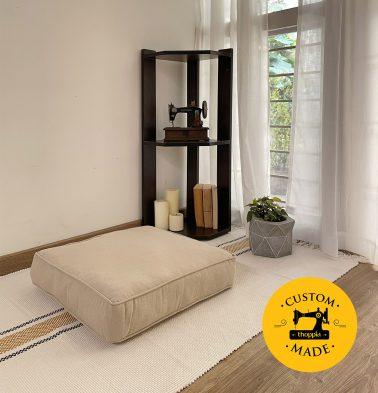 Customizable Floor Cushion, Textured Linen - Flax Beige