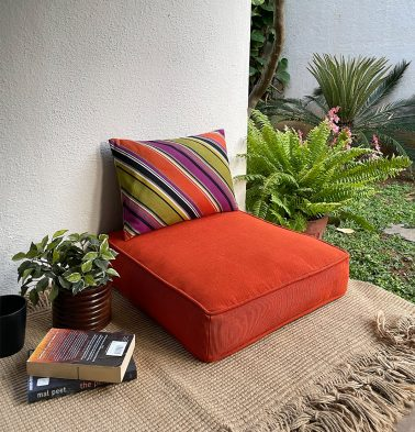 Handwoven Cotton Floor Cushion Pumpkin Orange