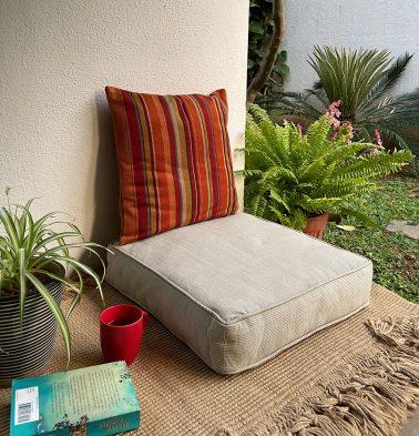 Handwoven Cotton Floor Cushion Sand White