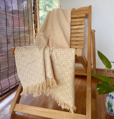 Handwoven Cotton Throw White/Straw Yellow