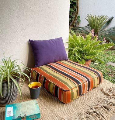 Shadow Stripes Cotton Floor Cushion Multicolor
