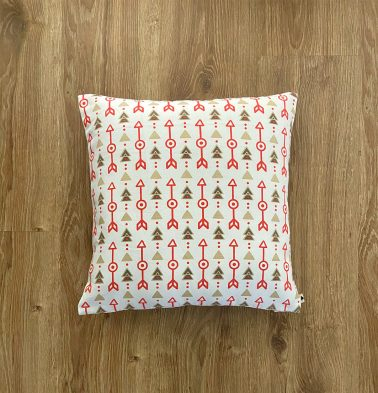 Customizable Cushion Cover, Cotton -  Aztec Arrows -  Fiesta Red